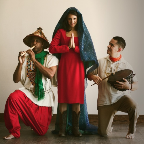 "Vanessa DeSilvio (center), with S-Ankh Rasa (left) and Armando Monsivias (right), plays Our Lady of Guadalupe in ""Milagritos."" Photo courtesy Cara Mia Theatre."
